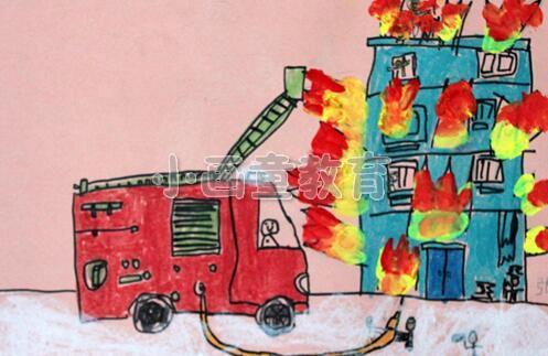 """儿童美术培训班给孩子们留了一个作业,关于""""消防车救火""""的主题画,孩子"""