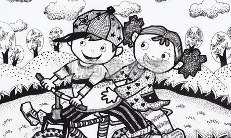 儿童创意线描画《骑着自行车去冒险》