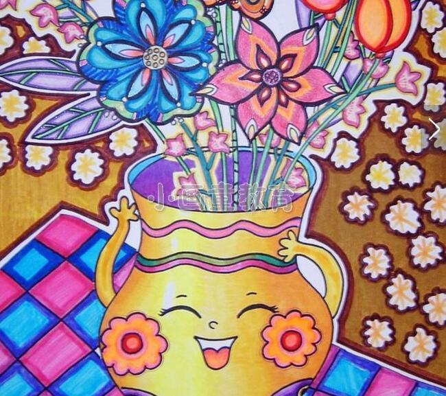 儿童美术水粉画 插满花的花瓶
